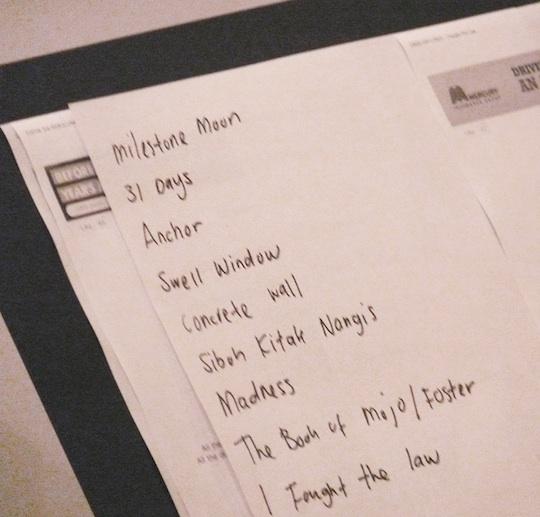 Zee's setlist