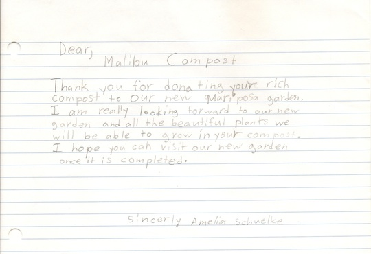 Mariposa Thank You Letter